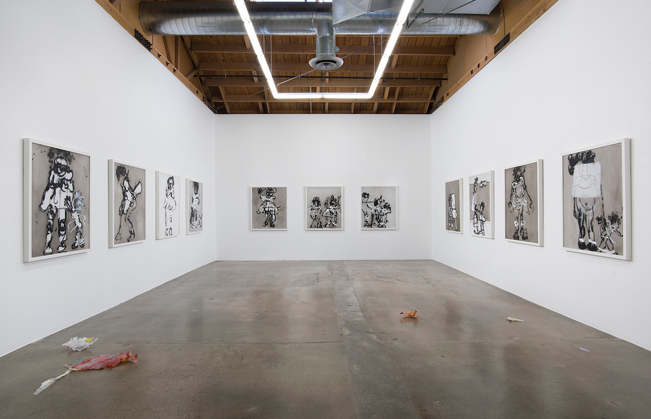 "An installation view of Kim Dingle's ""Painting Blindfolded"" series, which the artist made while blindfolded."