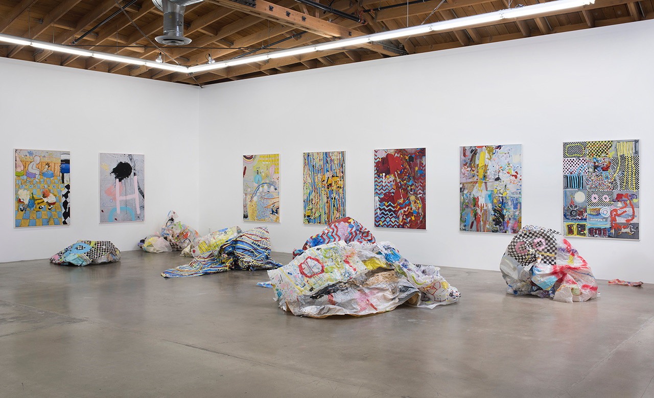 "An installation view of Kim Dingle's ""Crush"" series at Susanne Vielmetter."