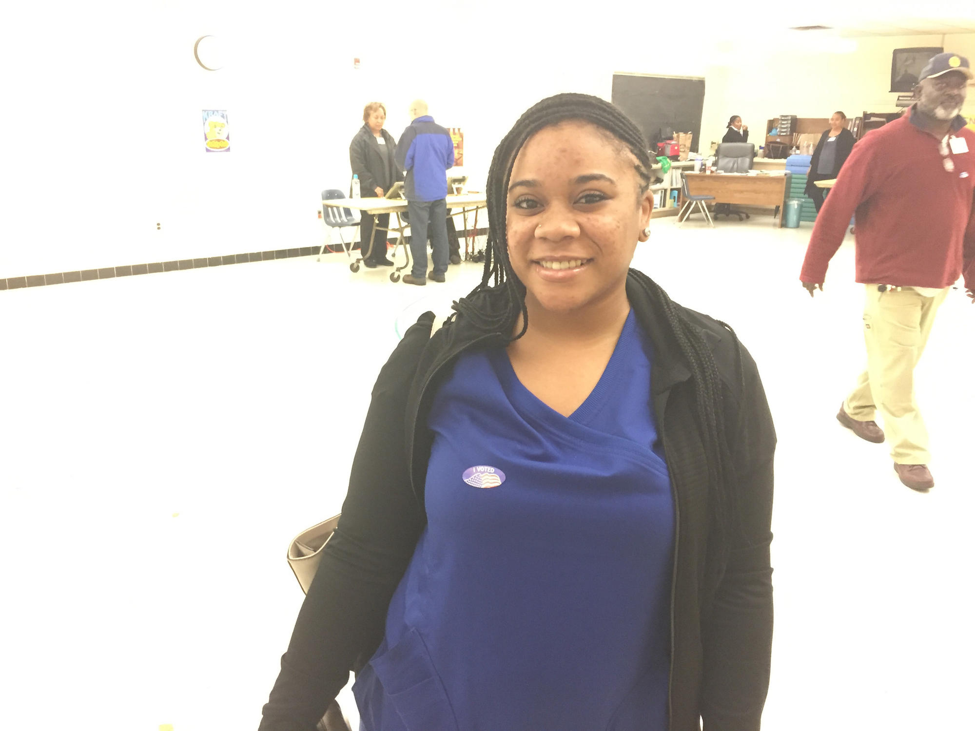 Mickayla Jones, 24, voted for the first time in her life at the Kraft precinct in Hampton Tuesday.