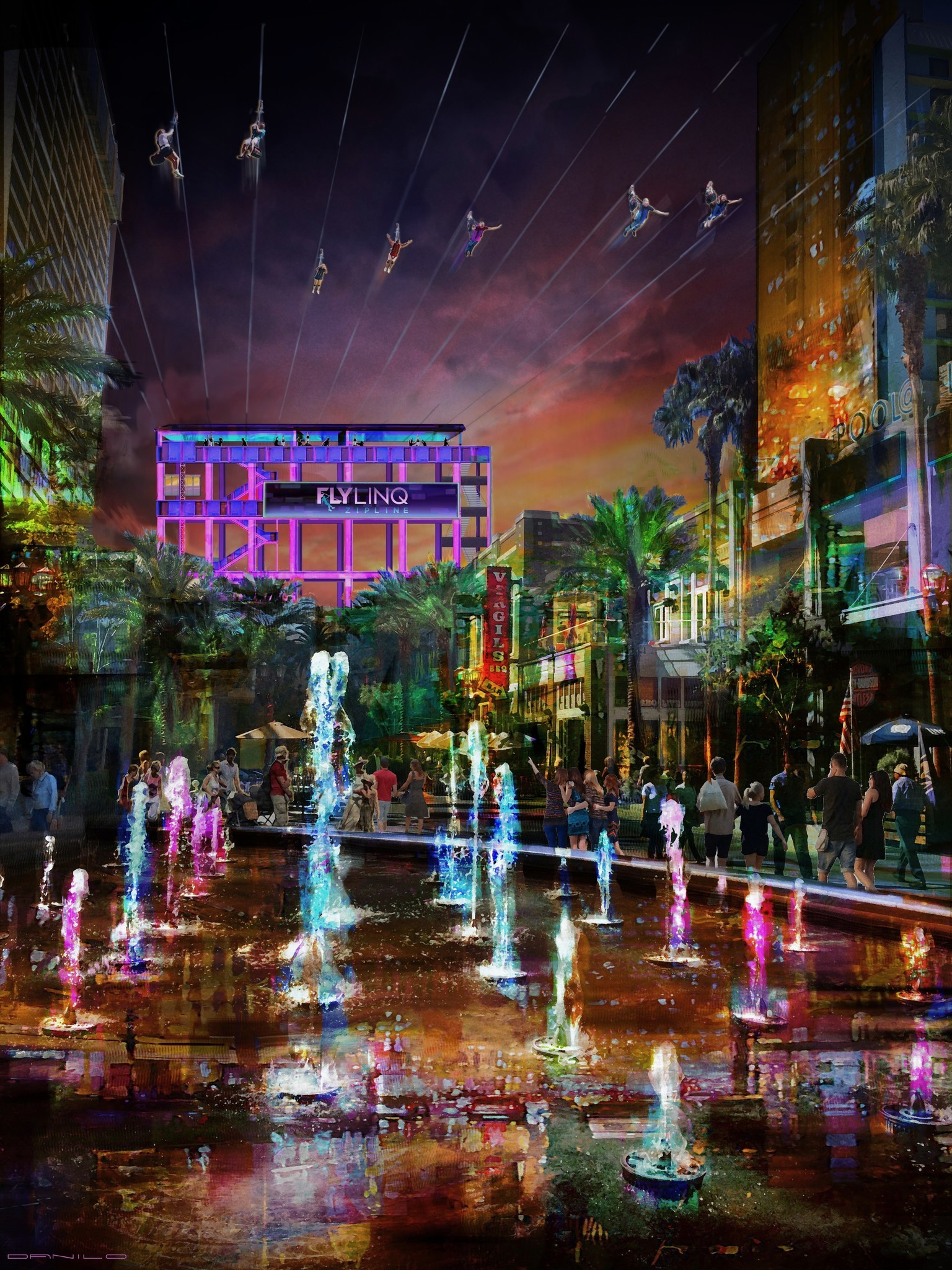 Fly Linq, the third zip-line in Las Vegas, is expected to open late in 2018. It's seen here in an artist's rendering.