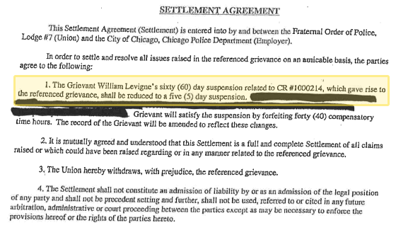 Officer Levinge Settlement Agreement Chicago Tribune