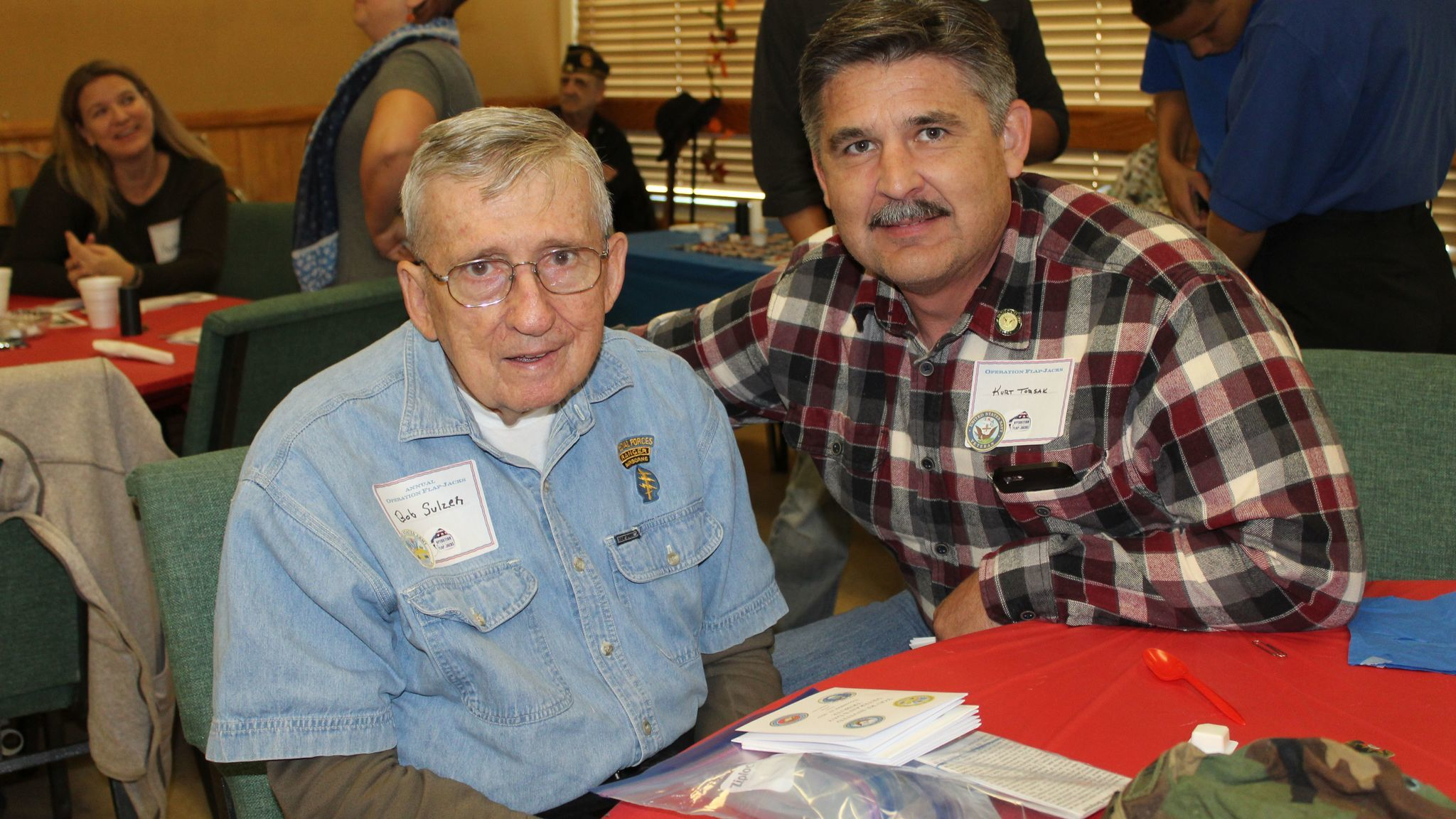 U.S. Army veteran Bob Sulzen, who will present a tribute to the military in the Church of Jesus Christ of Latter Day Saints in Ramona on Nov. 12, and San Diego County Sheriff's Sgt. Kurt Torsak, a U.S. Navy veteran, are among guests at the breakfast.