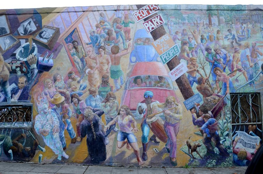 The mural at Telegraph and Haste (Christopher Reynolds / Los Angeles Times)