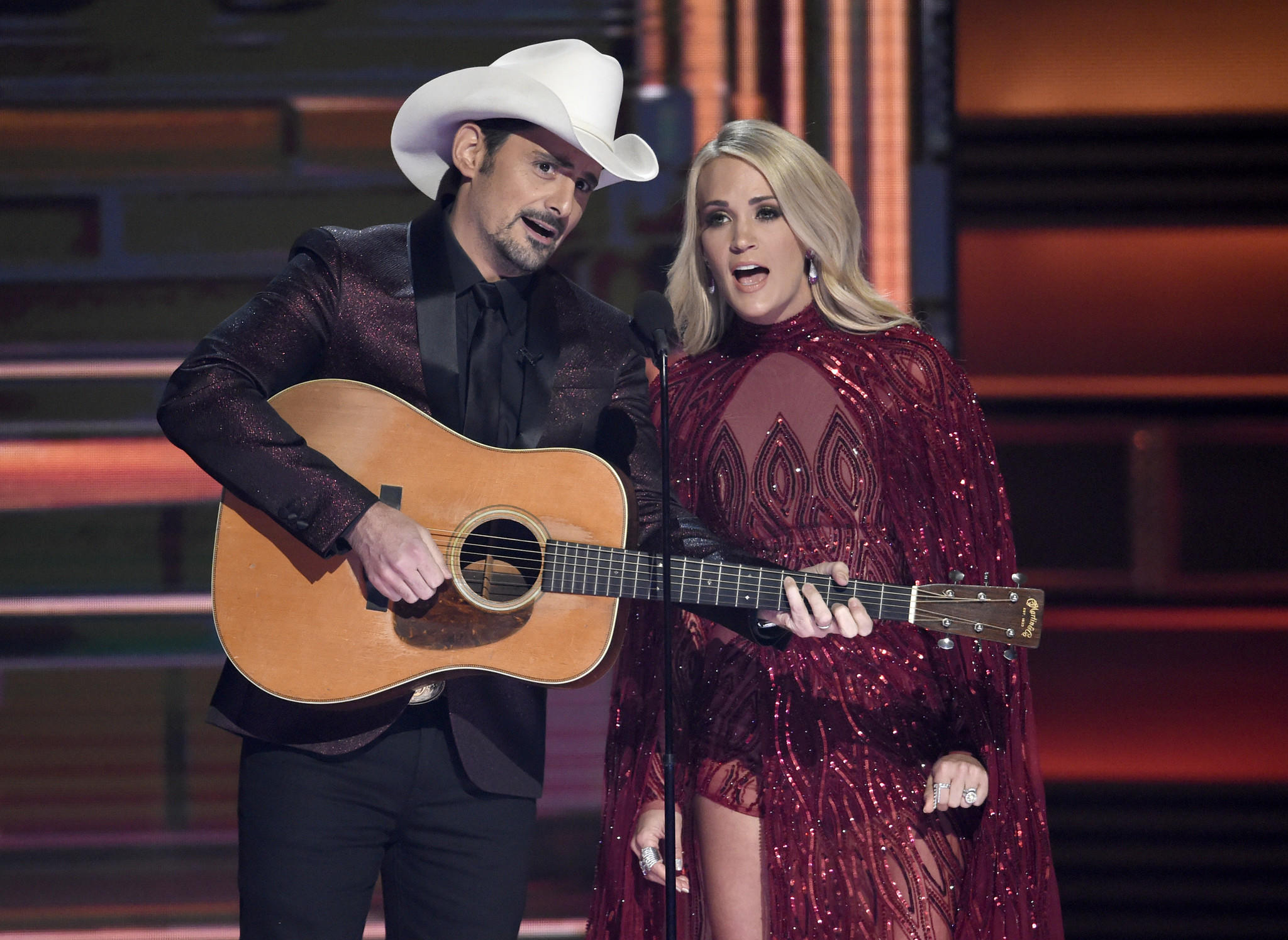 Brad Paisley and Carrie Underwood perform at the CMA Awards in Nashville on Wednesday. (Chris Pizzello / Invision/Associated Press)