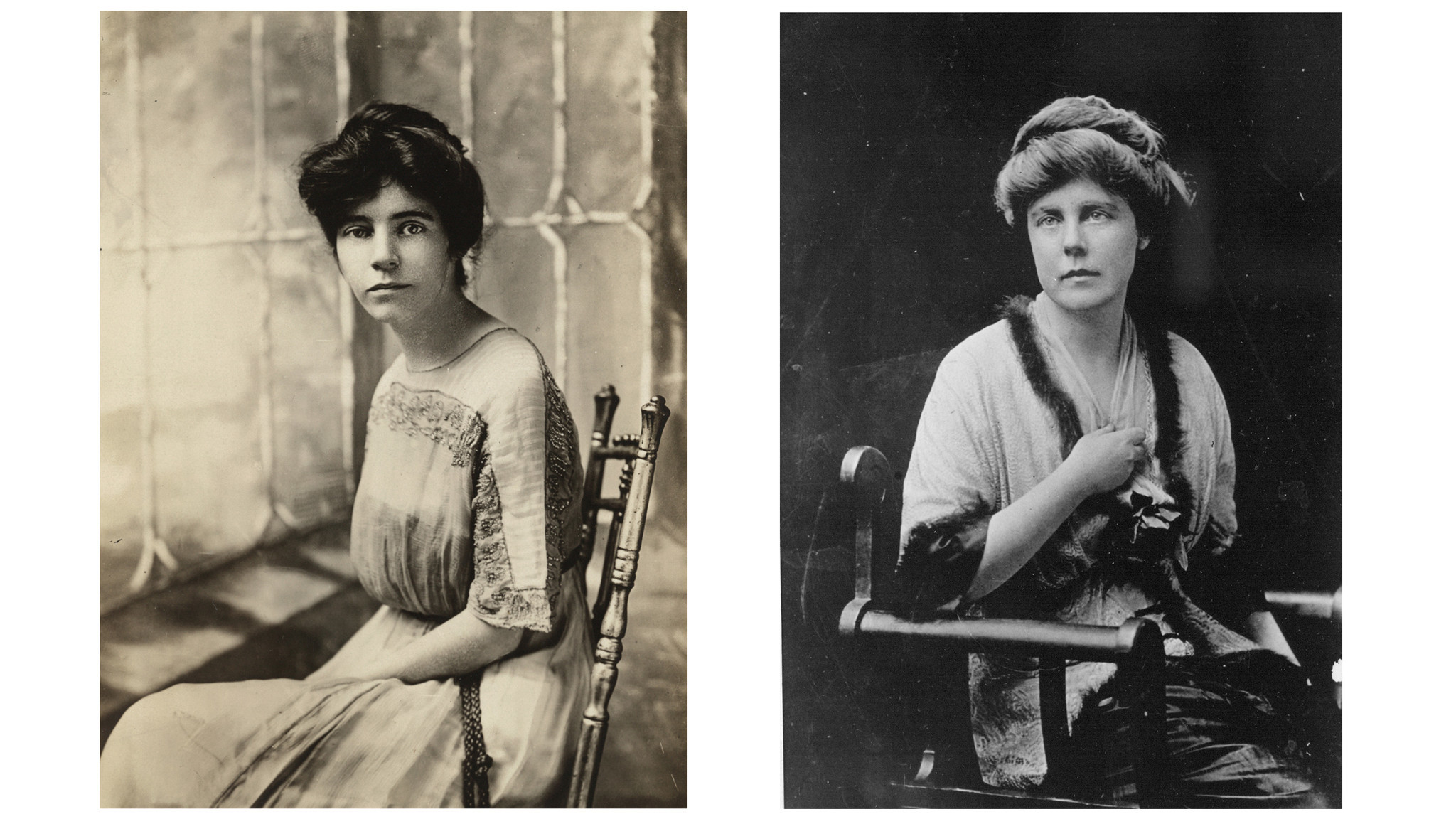 Alice Paul, left, national chairman of the Congressional Union for Woman Suffrage, and Lucy Burns, vice chairman of the organization in 1913