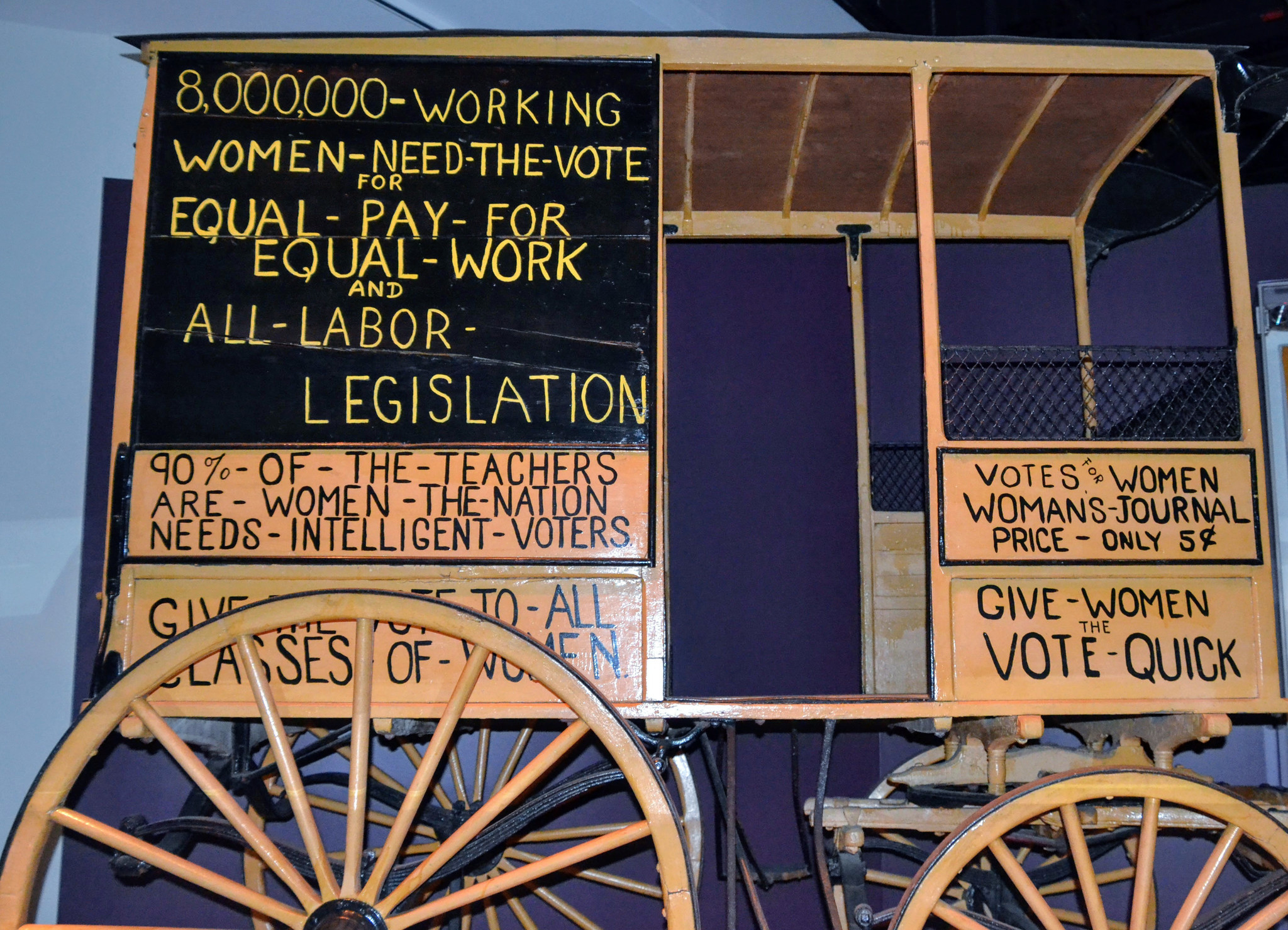 This wagon was used from the 1870s to 1920 in the suffrage movement. It is on display at the National Museum of American History in Washington, D.C.