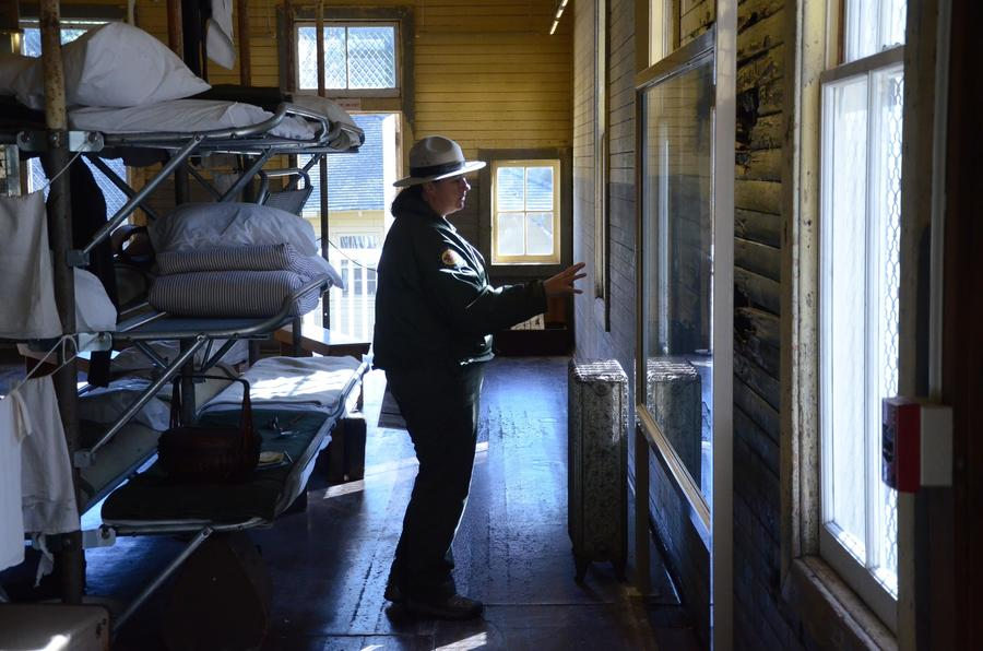 State parks interpreter Casey Dexter-Lee in the Immigration Station museum on Angel Island. (Christopher Reynolds/Los Angeles Times)