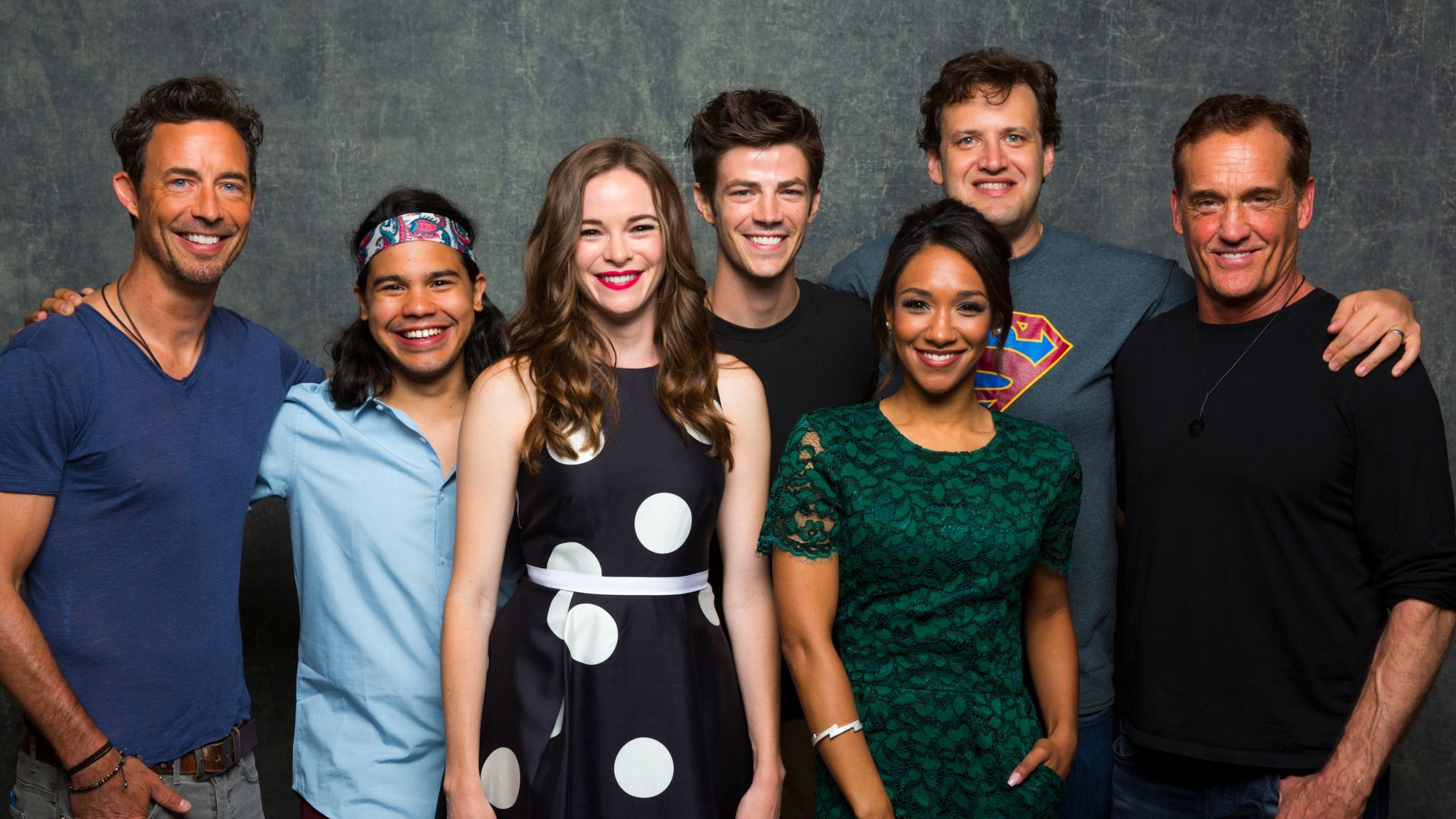 Andrew Kreisberg, second from right, is shown with 'The Flash' team at Comic-Con. (Jay L. Clendenin / Los Angeles Times)