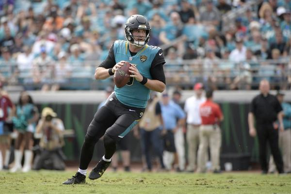 Jaguars quarterback Blake Bortles looks to throw the ball during a game against the Bengals on Nov. 5. None