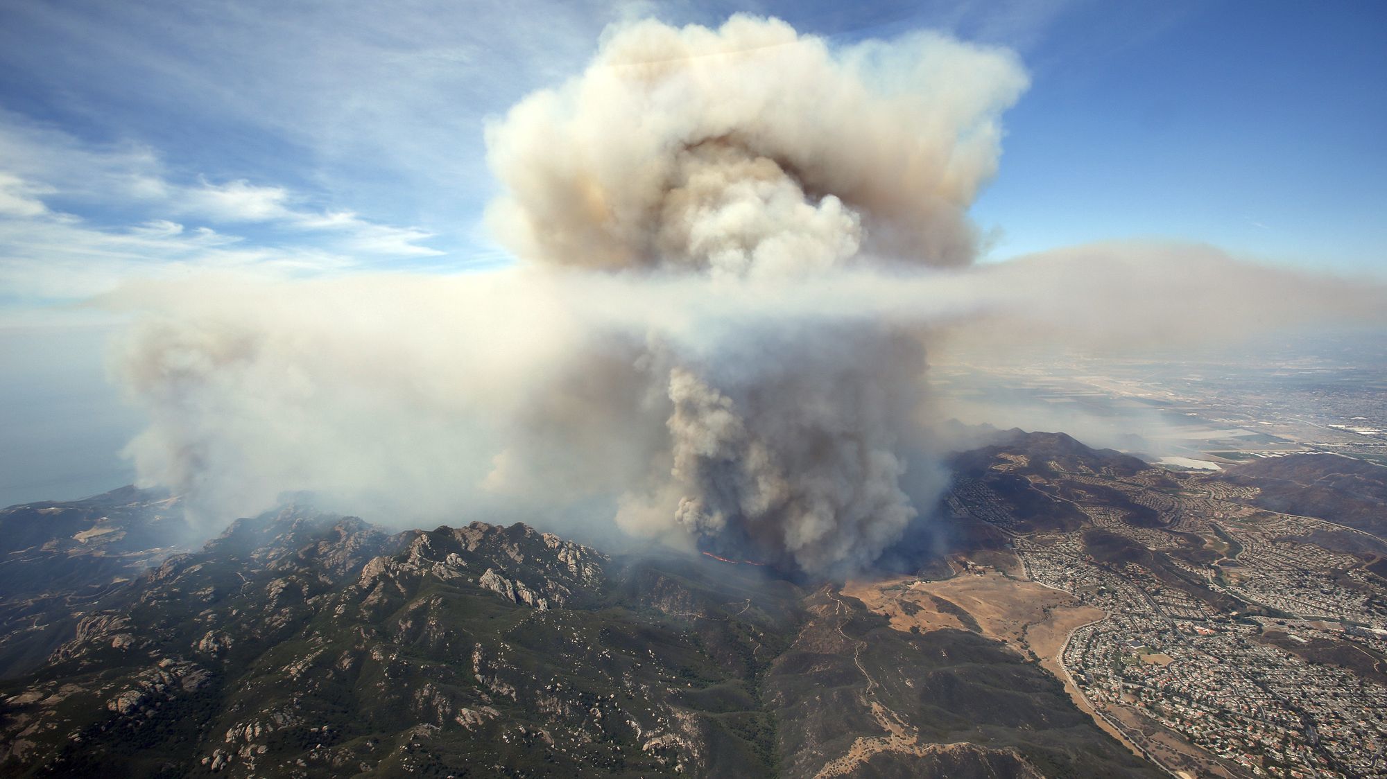 Aerial view of the Springs fire burning in the Santa Monica Mountains between Malibu and Newbury Park in 2013.