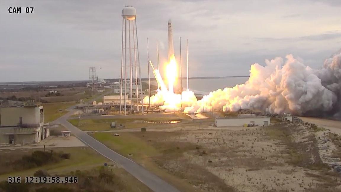 Orbital ATK Cygnus launch aboard Antares rocket to the International Space Station