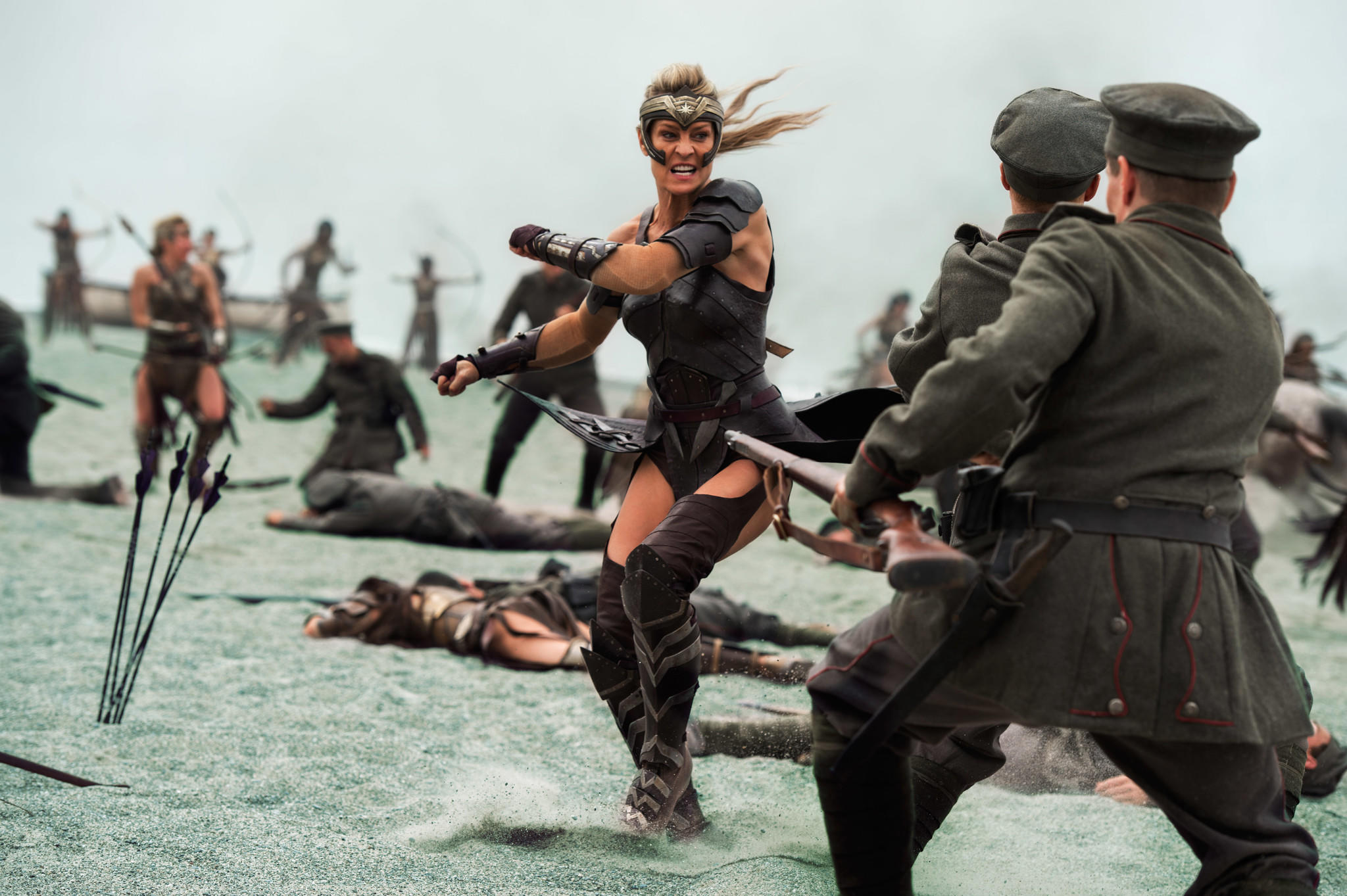 "Robin Wright shows off her pipes while wearing practical gear in ""Wonder Woman."" (Alex Bailey / Warner Bros.)"