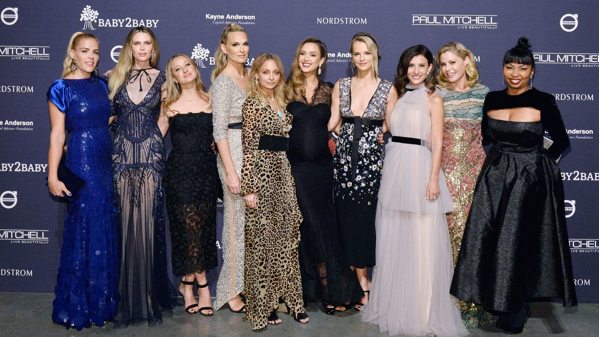 Busy Philipps, from left, Sara Foster, Jennifer Meyer, Molly Sims, Nicole Richie, Jessica Alba, Kelly Sawyer Patricof, Norah Weinstein, Julie Bowen and Brigette Romanek at the Baby2Baby Gala.