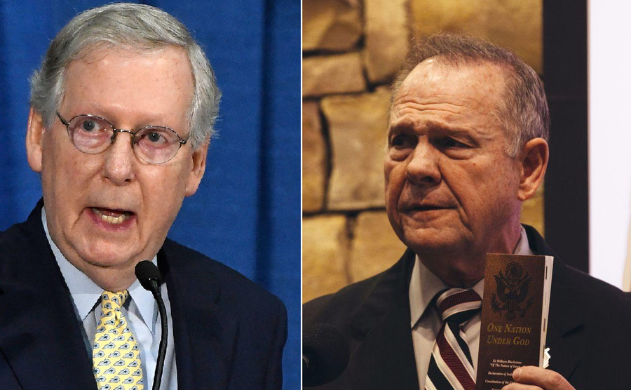 Senate Majority Leader Mitch McConnell, left, and Senate candidate Roy Moore, right (AP)