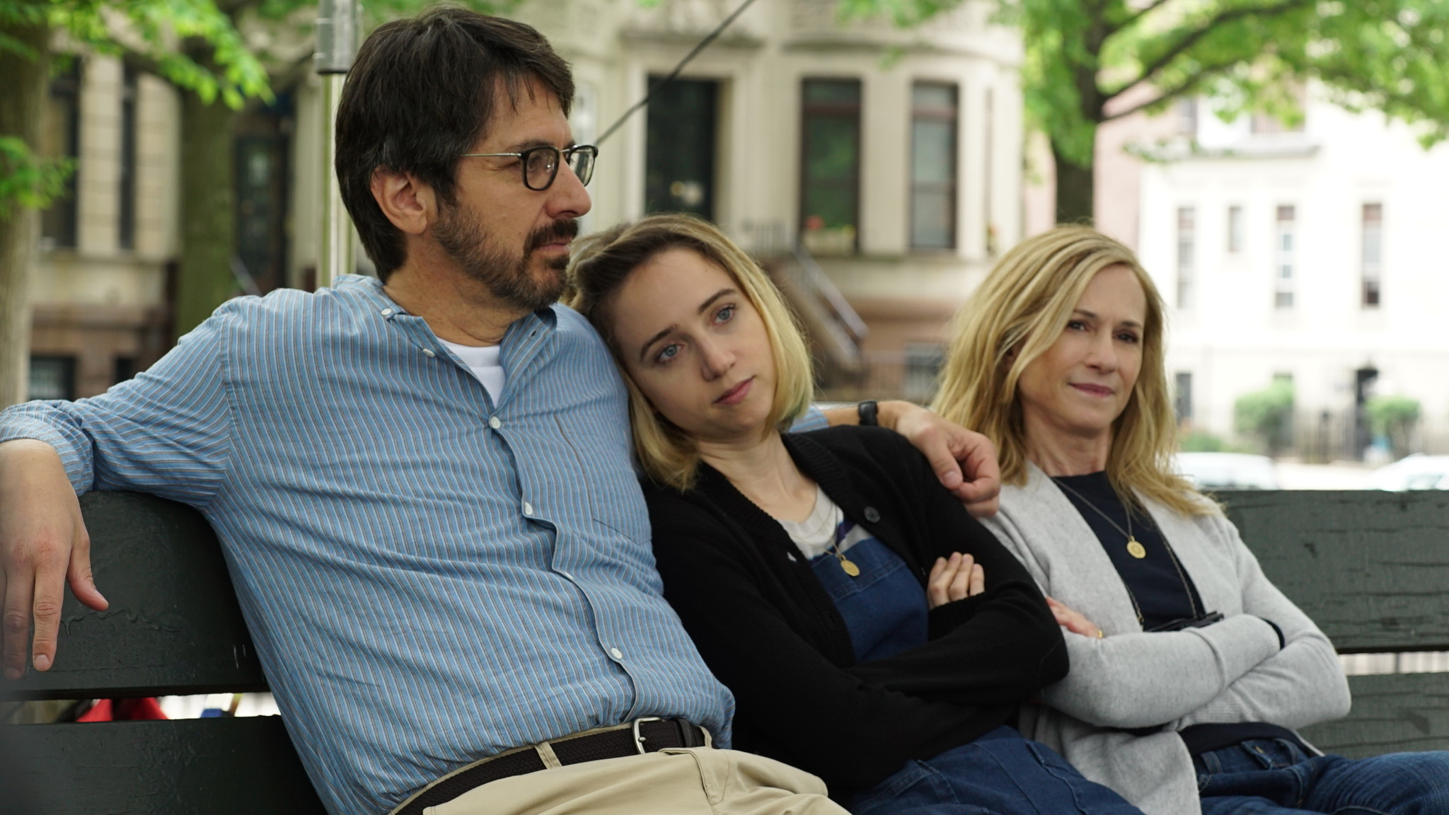 """From L to R: Ray Romano as """"Terry,"""" Zoe Kazan as """"Emily"""" and Holly Hunter as """"Beth"""" in THE BIG SICK."""