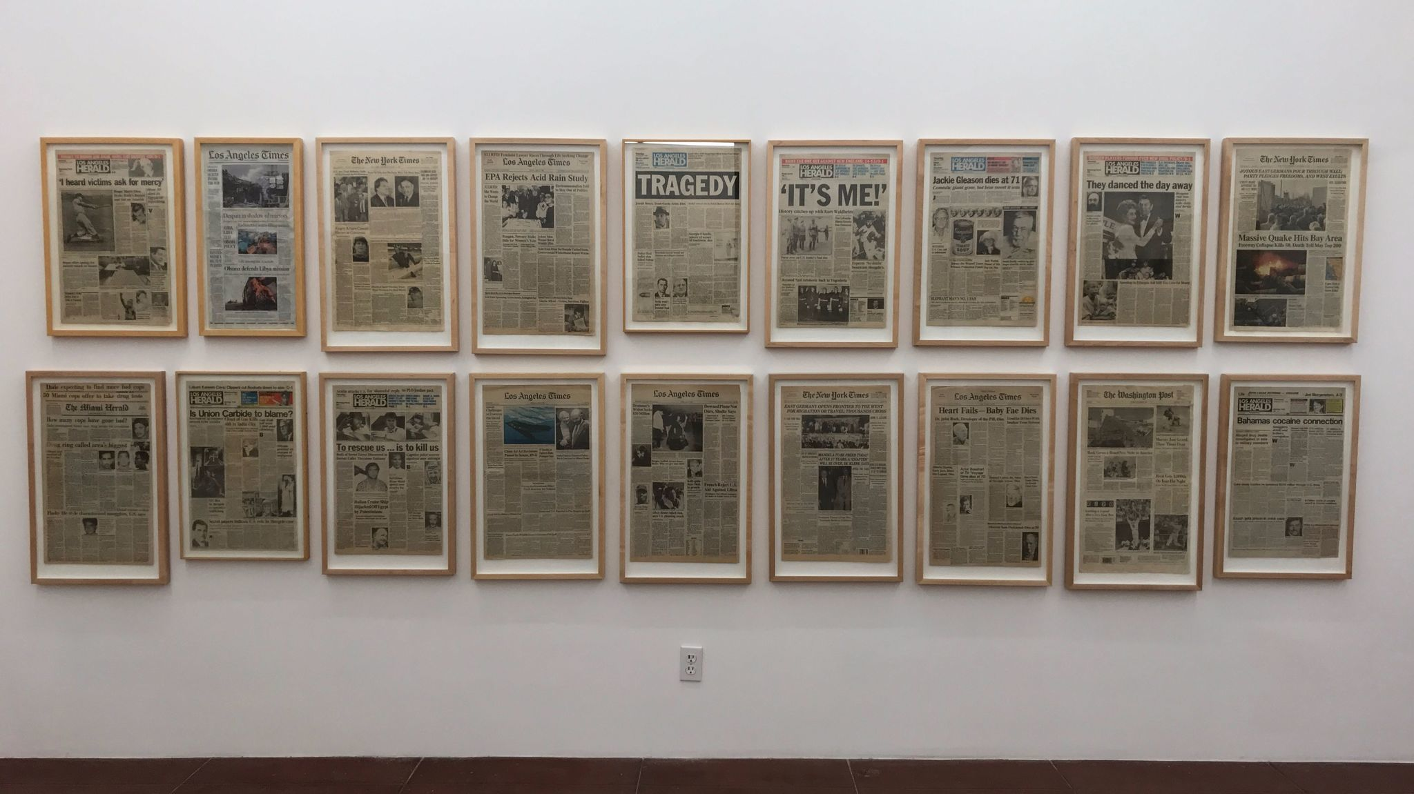"Merlin Belin, installation view, ""Merwin Belin: Frontpages,"" As Is LA, 2017."