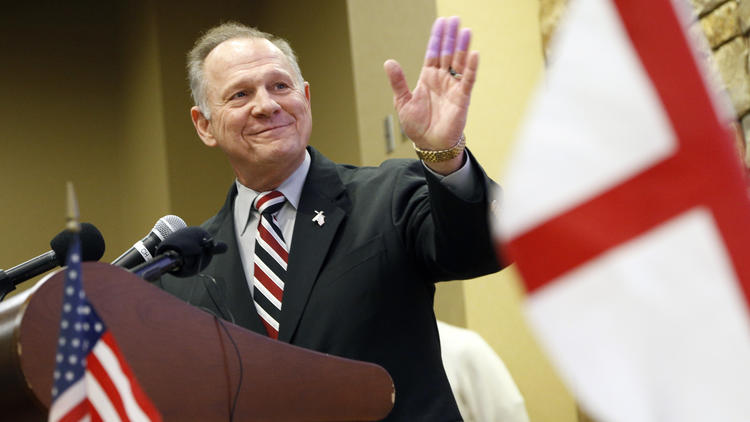 Alabama Republican Senate candidate Roy Moore speaks Saturday in Vestavia Hills, Ala. (Hal Yeager / Associated Press) None