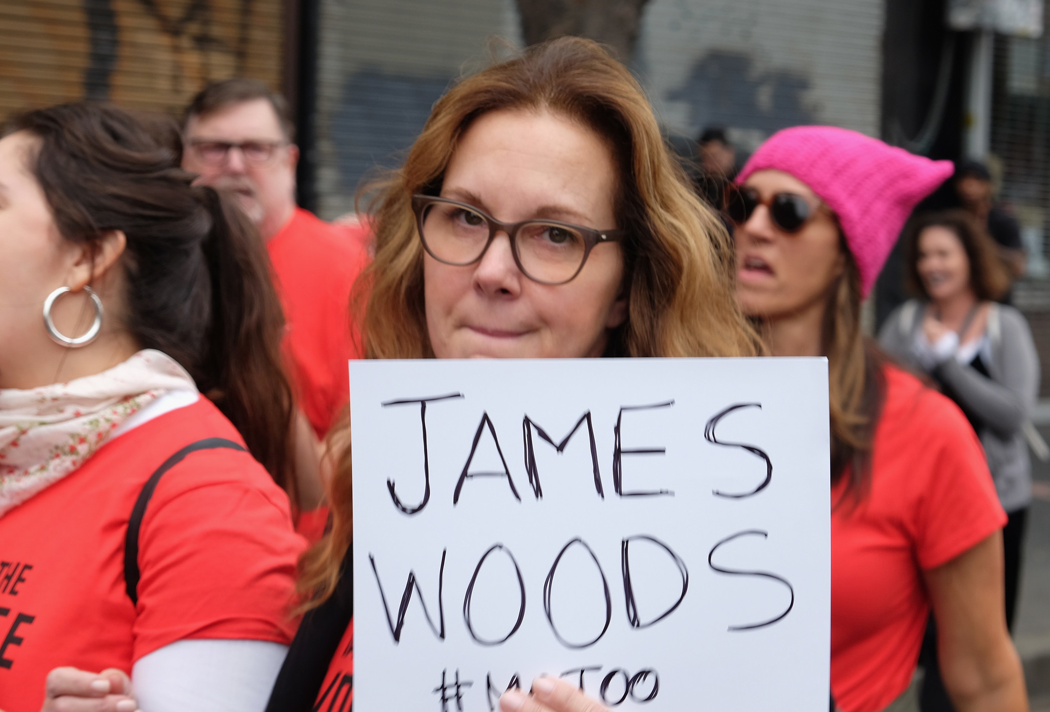 Elizabeth Perkins participates in the Take Back the Workplace March on Nov. 12 in Hollywood. (Sarah Morris / Getty Images)