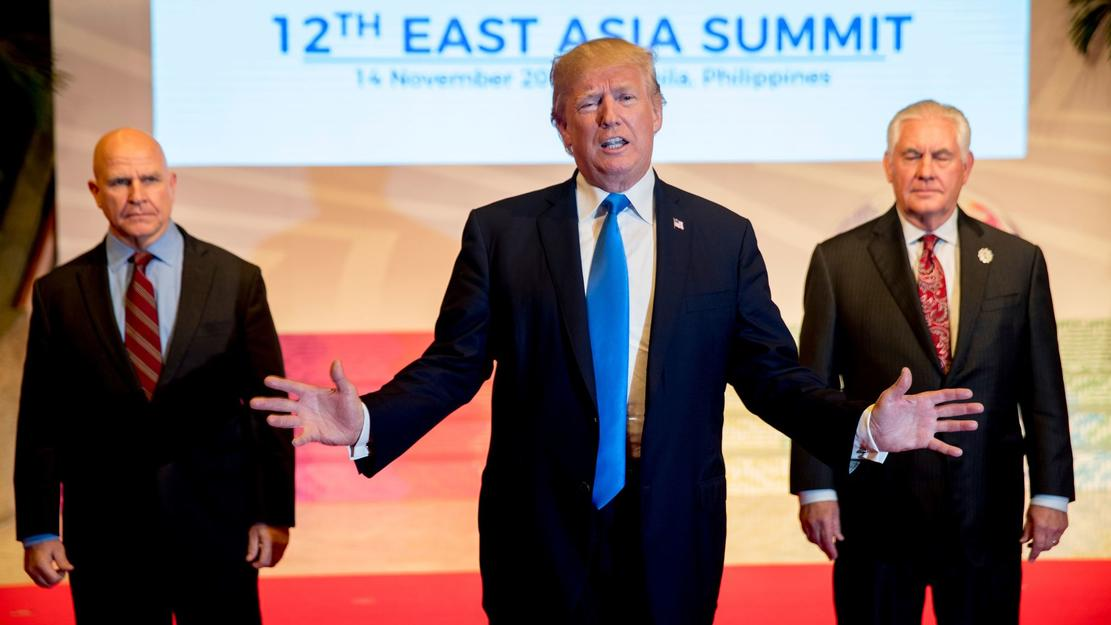 President Donald Trump, accompanied by Secretary of State Rex Tillerson, right, and National Security Adviser H.R. McMaster, left, at the East Asia Summit on November 14th in Manila, Philippines. — Photograph: Andrew Harnik/Associated Press.