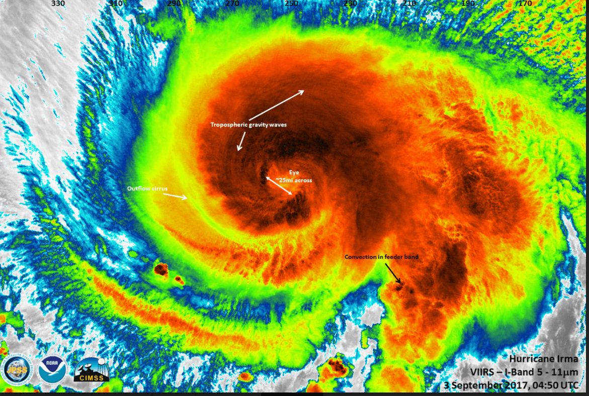 This high-resolution infrared image of Hurricane Irma was taken by a VIIRS instrument aboard a NASA-NOAA satellite as the storm approached Puerto Rico on Sept. 3.