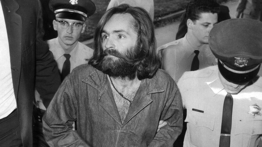 Charles Manson is led to court for a preliminary hearing on December 3, 1969. — Photograph: John Malmin/Los Angeles Times.