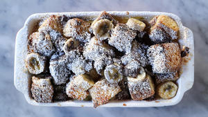 Banana and chocolate bread pudding