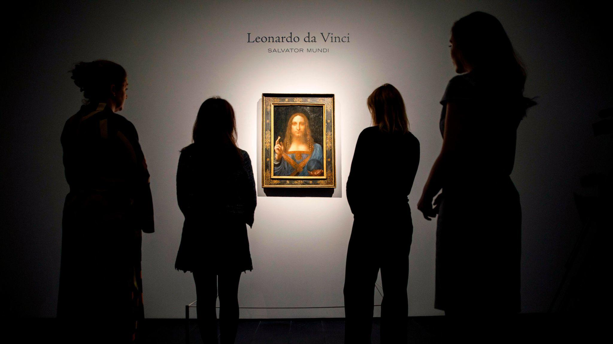 The Leonardo da Vinci painting that set a record with a sale price of $450 million. (Tolga Akmen / AFP/Getty Images)