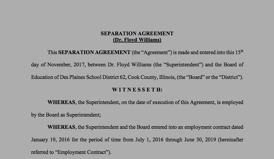 Read The Full Separation Agreement Between Floyd Williams And Des