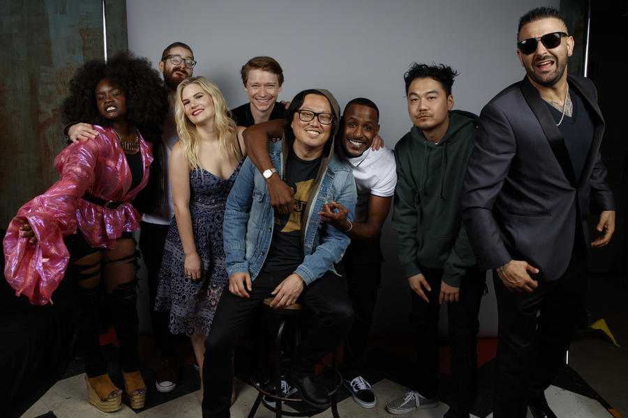 "The cast of ""Bodied,"" from left: Shoniqua Shandai, Kid Twist, Rory Uphold, Calum Worthy, director Joseph Kahn, Jackie Long, Dumbfounded and Dizaster. (Jay L. Clendenin / Los Angeles Times)"