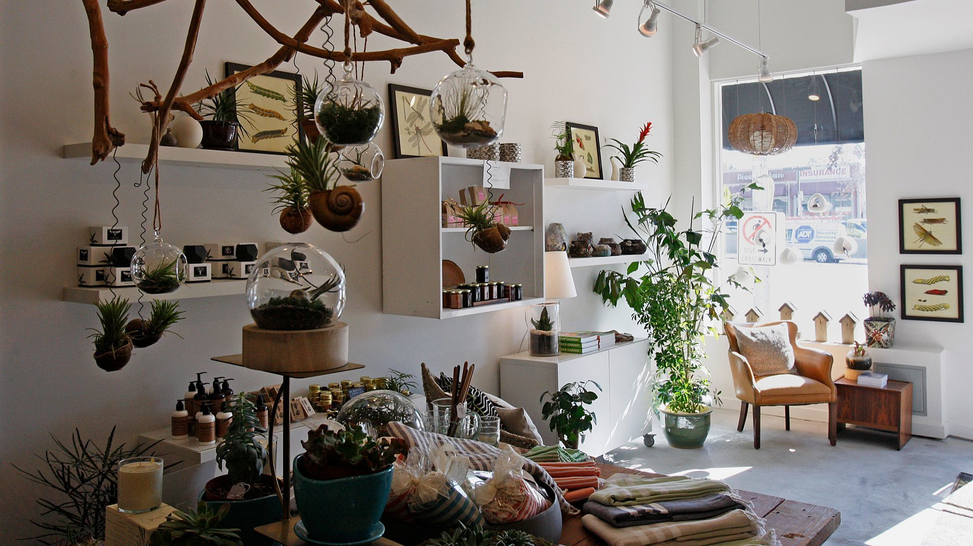 LOS ANGELES, CALIFORNIA - DECEMBER 31, 2013: A mix of terrariums, cermamics, botanical art and other