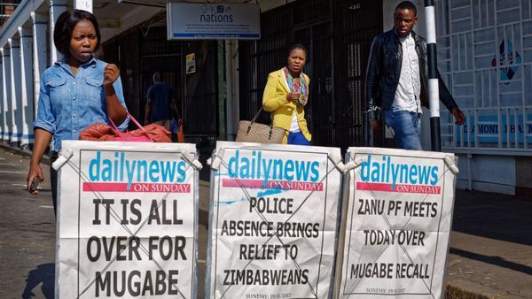 Zimbabwe ruling party fires Mugabe as chief
