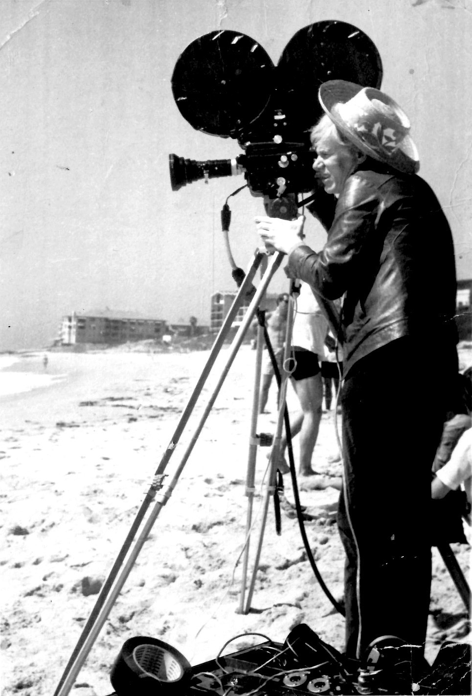 Andy Warhol on the beach at WindanSea, May 1968