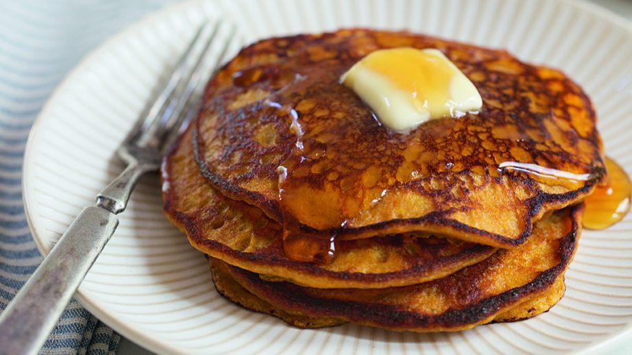 Orange-Pumpkin Pancakes for a special breakfast