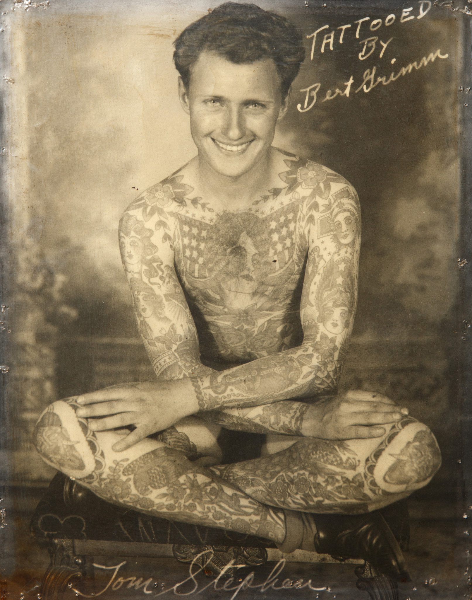 A photograph of a full body tattoo on Tom Stephens featured in the he Natural History Museum of Los