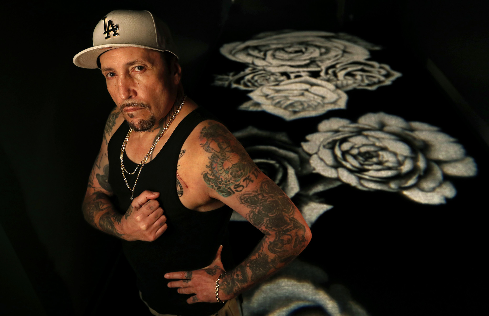 LOS ANGELES, CA-NOVEMBER 15, 2017: Tattoo artist Freddy Negrete is photographed inside the new tatt