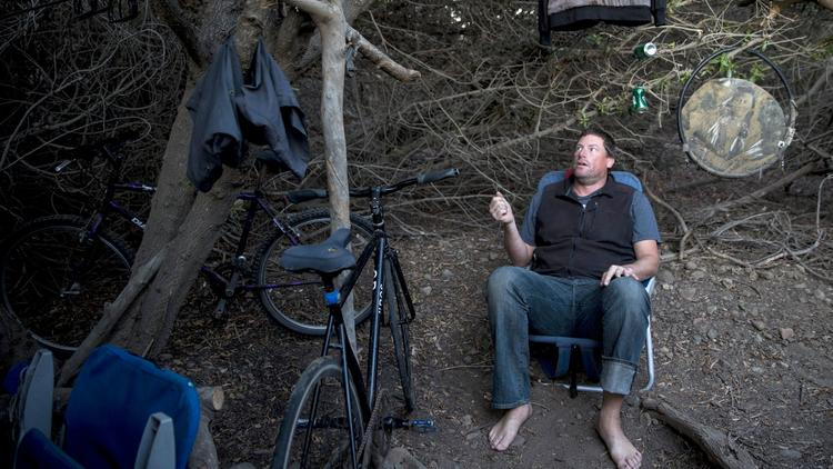 Chris Smith at his encampment near Zuma Beach
