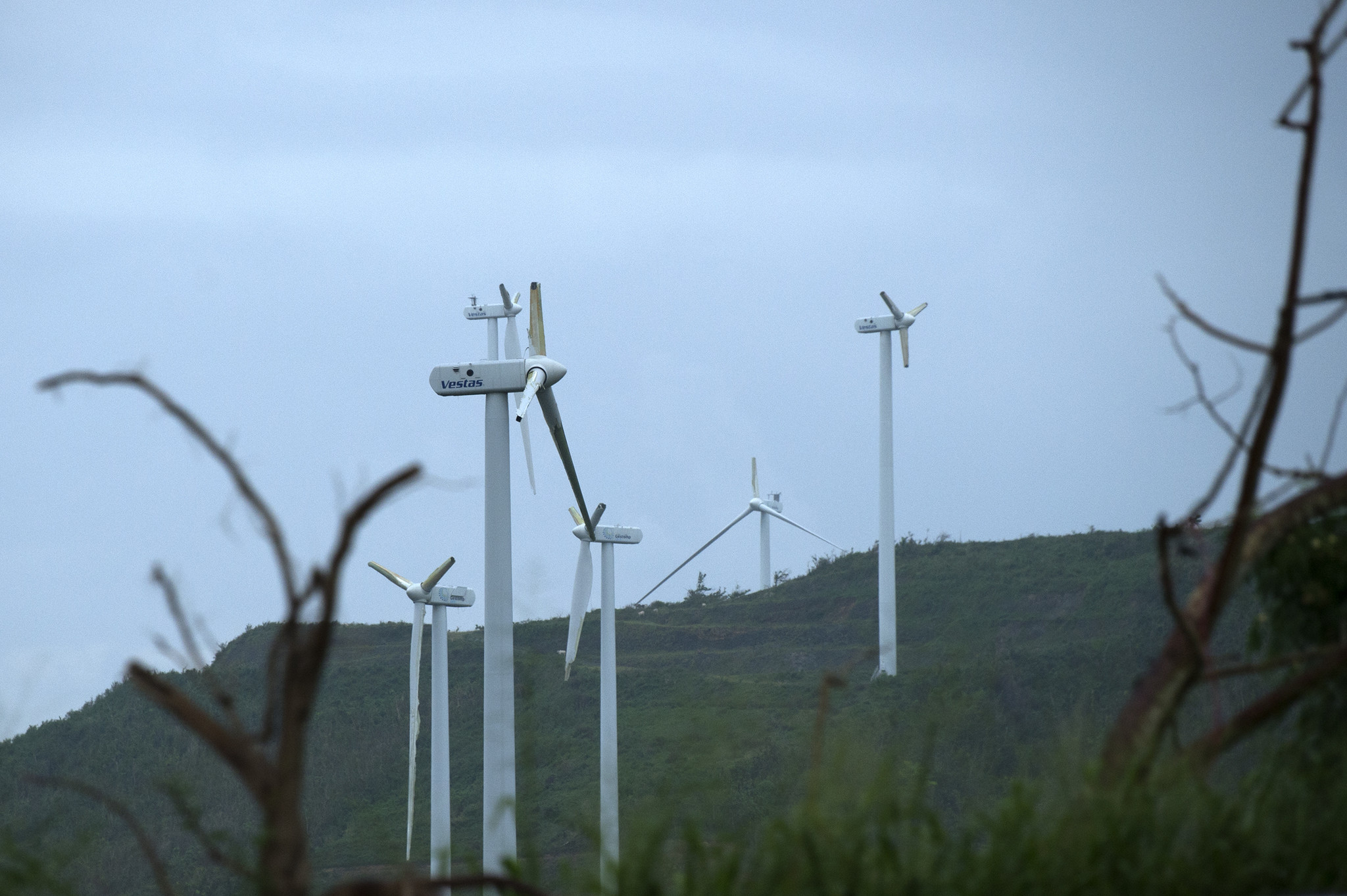 At a large-scale wind farm just outside of Fajardo, Puerto Rico, the high-tensile steel blades on the turbines were reduced to stubs by Hurricane Maria