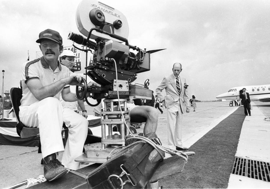 "Ron Howard, left, and father Rance Howard, right, during the filming of ""Gung Ho"" in 1985. (AP Photo/Keith B. Srakocic)"