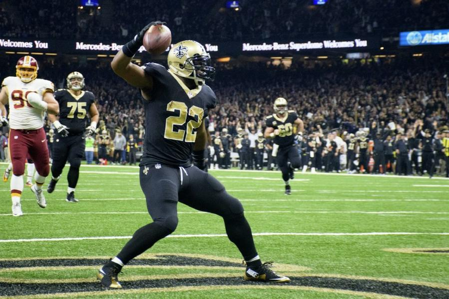 Saints running back Mark Ingram II celebrates after scoring a touchdown against the Redskins on Nov. 19. (Scott Clause / The Daily Advertiser)
