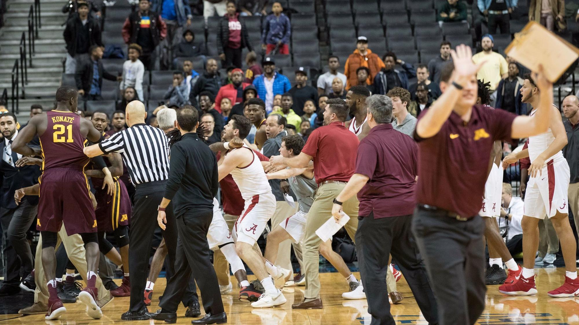 College basketball: Alabama finishes game with three players on the court after bench-clearing ...