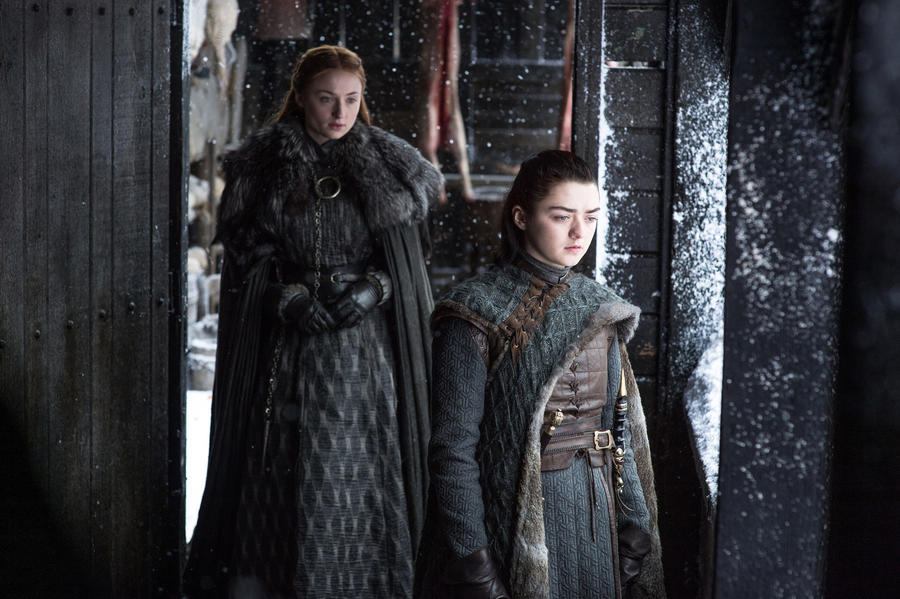 "Sophie Turner, left, and Maisie Williams in ""Game of Thrones."" (Helen Sloan / HBO)"