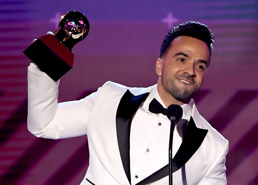 Luis Fonsi accepts the song of the year award at the 18th Latin Grammy Awards on Nov. 16. (Kevin Winter)