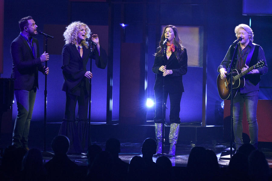 From left: Jimi Westbrook, Kimberly Schlapman, Karen Fairchild and Philip Sweet of Little Big Town perform at the 51st annual CMA Awards (Chris Pizzello / Invision/AP)