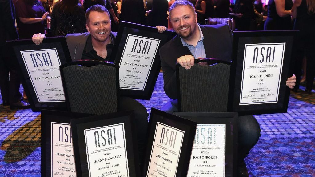 Songwriters Shane McAnally and Josh Osborne, seen here at the 2017 Nashville Songwriters Hall Of Fame Awards, are nominated for two Grammy awards. (Rick Diamond/Getty Images)