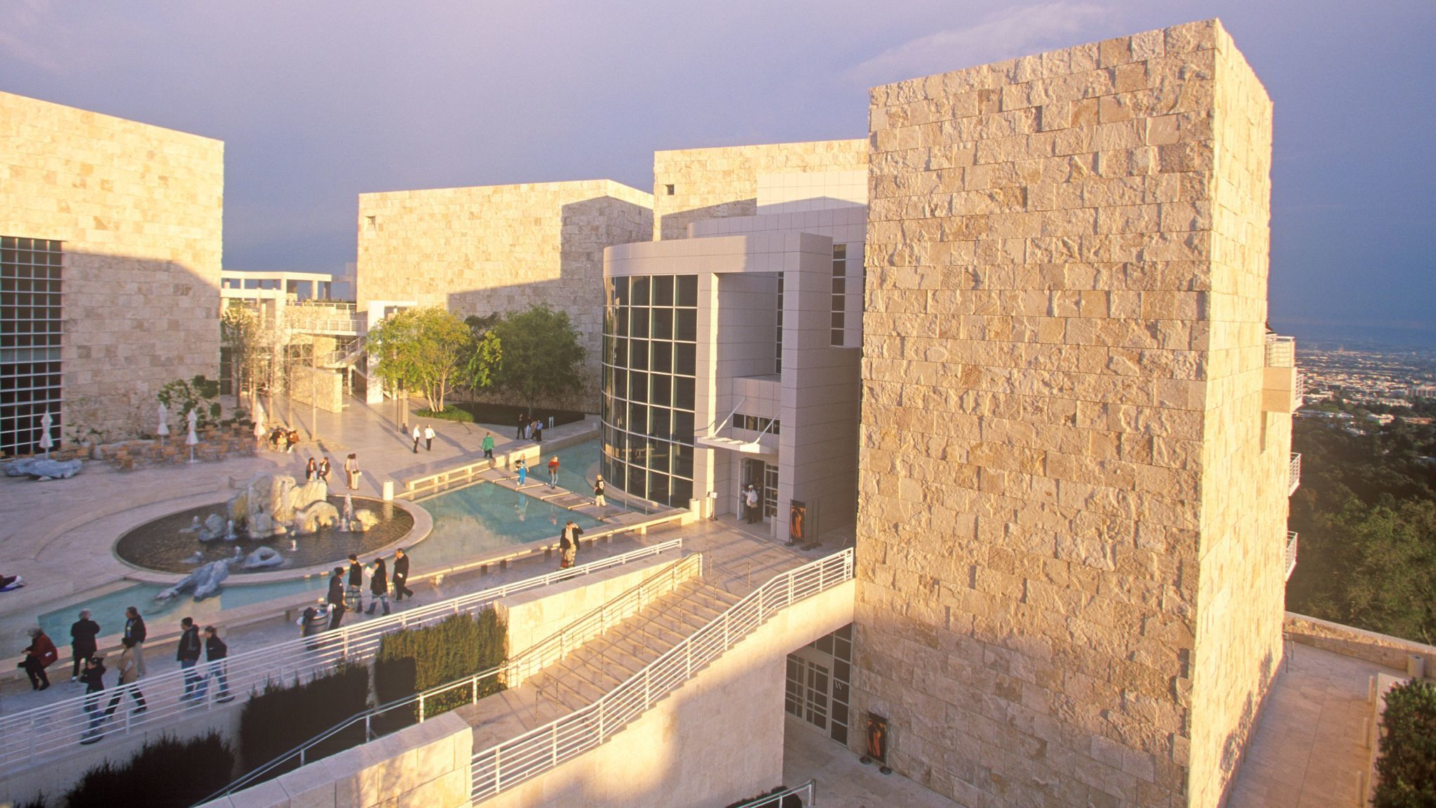 The Getty Center at sunset, Brentwood, California
