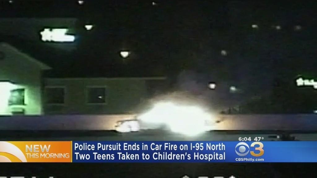 Fiery Car Crash In Philadelphia