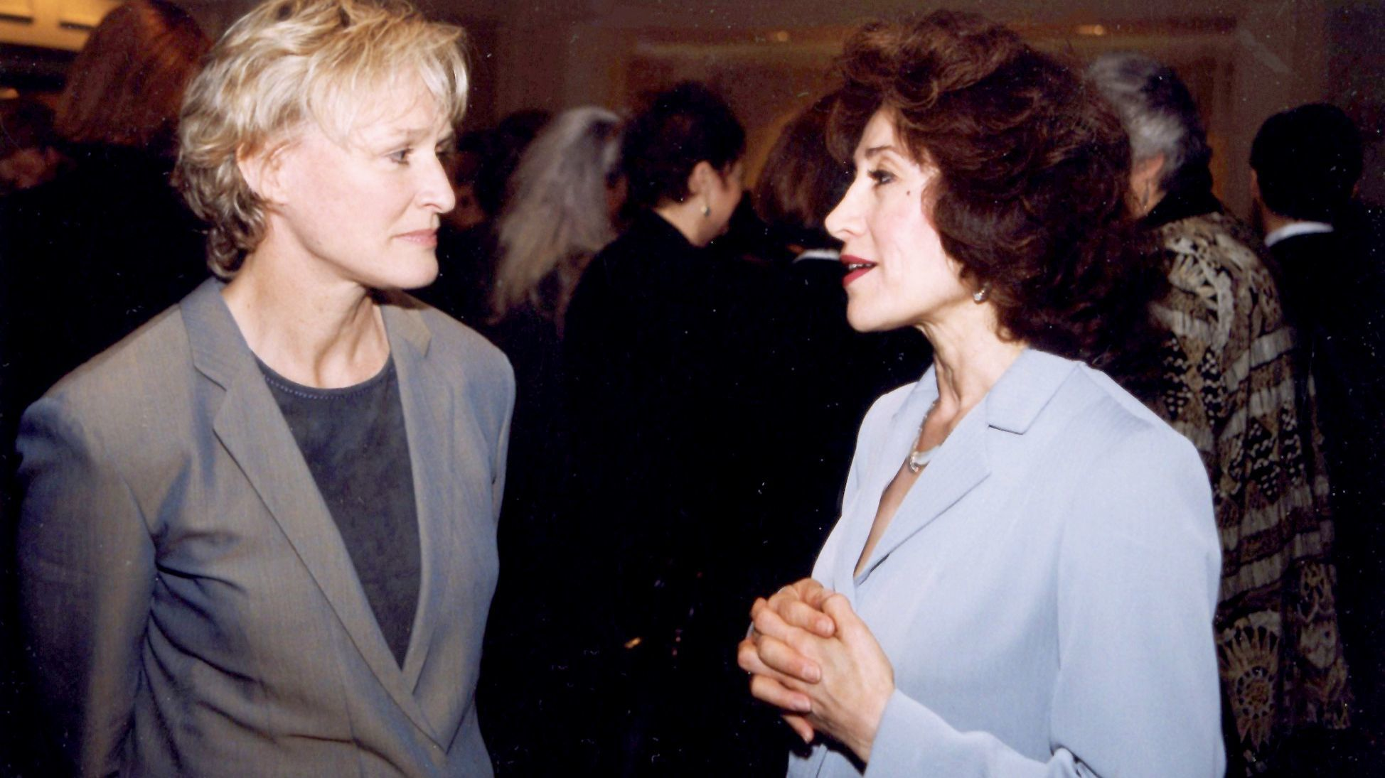 Sima Wali (right) talks with actress Glenn Close at the Women's Commission for Refugee Women and Chi
