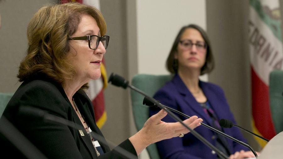 Assemblywoman Eloise Gomez Reyes (D-Grand Terrace), left, and Assemblywoman Laura Friedman (D-Glendale). (Rich Pedroncelli / Associated Press)