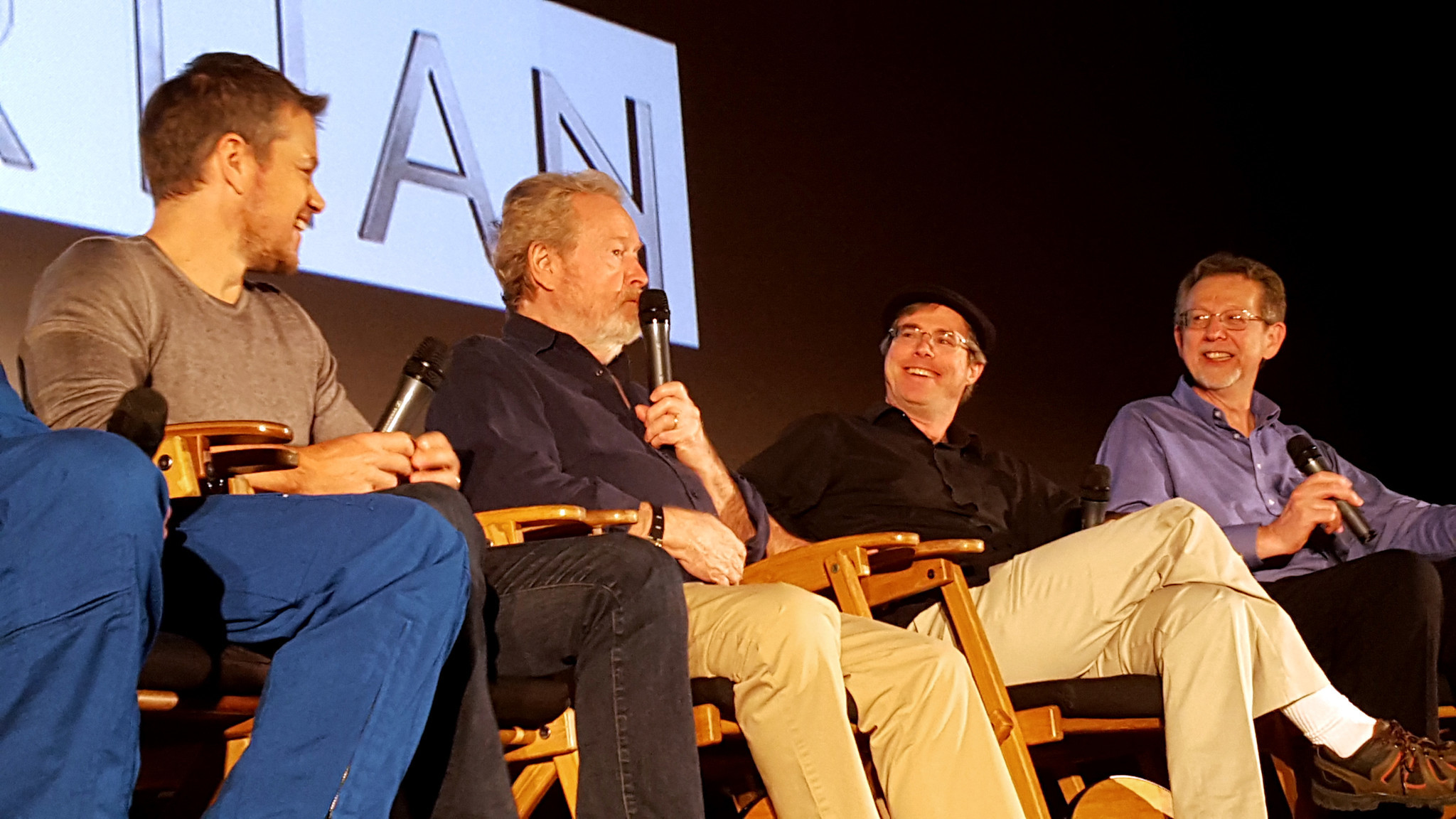 Matt Damon, Ridley Scott, Andy Weir and NASA scientist Jim Green discuss Mars and the film 'The Martian' in 2015.