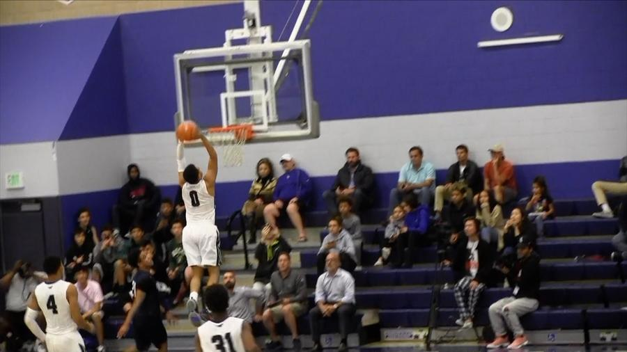 Duane Washington soars for a dunk for Sierra Canyon. He finished with 17 points. (Eric Sondheimer)